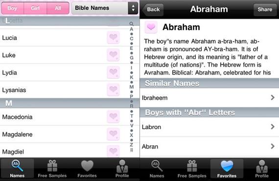 Vista previa de aplicación con nombres para bebés.