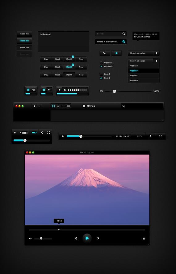 Vista previa de elementos UI oscuros