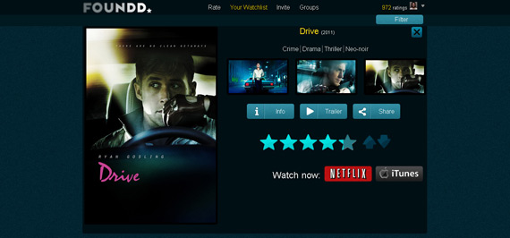 Foundd: Películas y entretenimiento en base a tus gustos