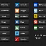 Botones con íconos sociales en PSD