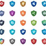 Set de iconos sociales estilo escudos