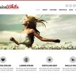 Sitio web minimalista en blancos y grises con slider superior.