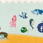 Iconos sociales con formas de peces