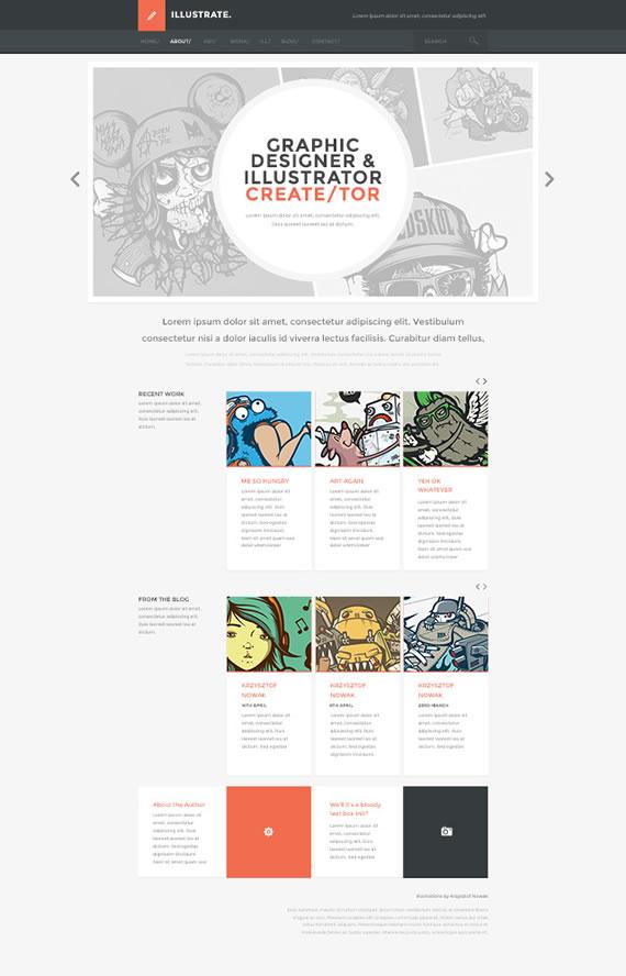 Plantilla para sitio web con estilo básico minimalista
