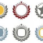 Escudos vectorizados con laureles
