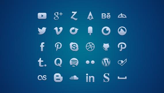 Iconos sociales en variados formatos