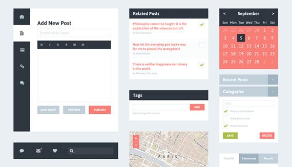 Elementos UI con estilo plano para blog