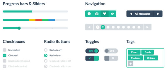 Elementos UI estilo plano