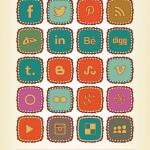 Iconos sociales en colores retro