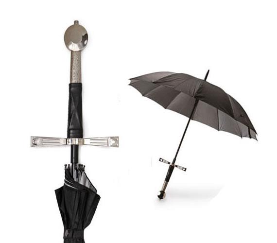 Paraguas con empuñadura de espada medieval