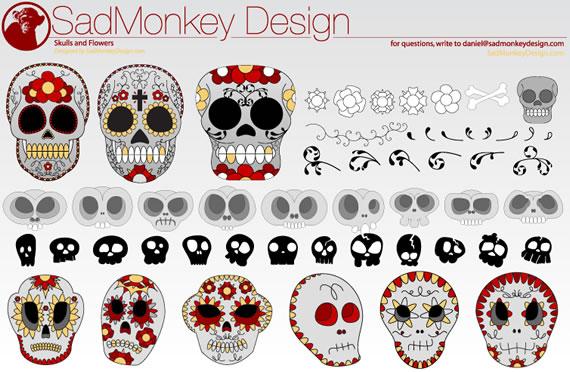 Descargar SadMonkey Skulls & Flowers | Vector.us