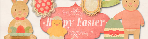 Retro Style Easter Kit - Scrapbook de Pascua