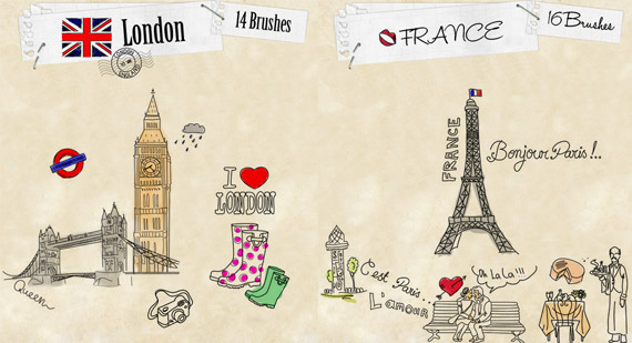 Brushes de Paris y Londres para Photoshop