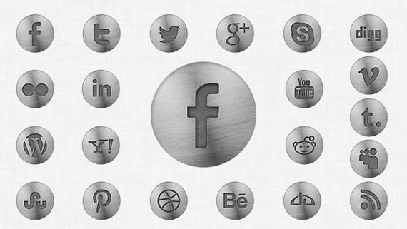 Iconos sociales metalizados en PSD