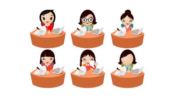 Iconos De Mujeres De Oficina Estilo Caricatura