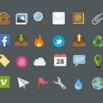 25 iconos planos en formato PSD