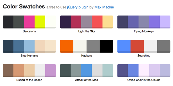 paletas de colores con jQuery
