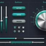 Elementos UI con detalles metalizados