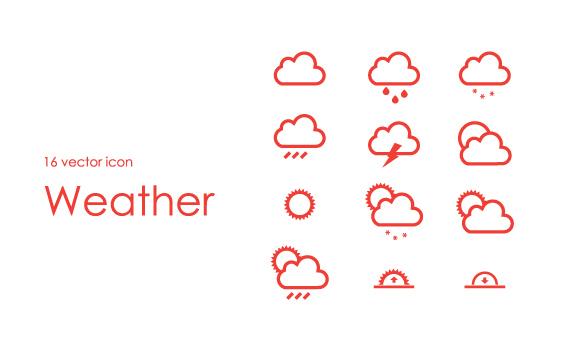16 iconos de clima en formato PSD