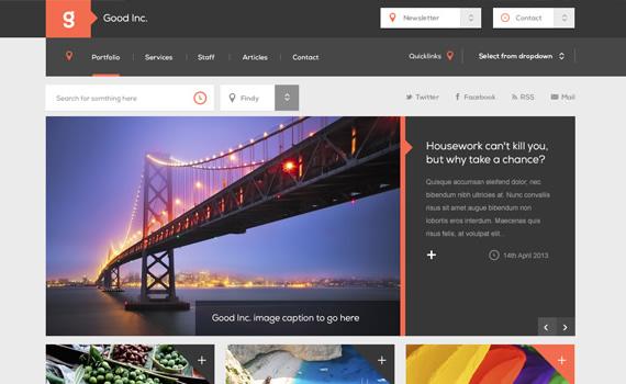 Good Inc. Plantilla web en Photoshop