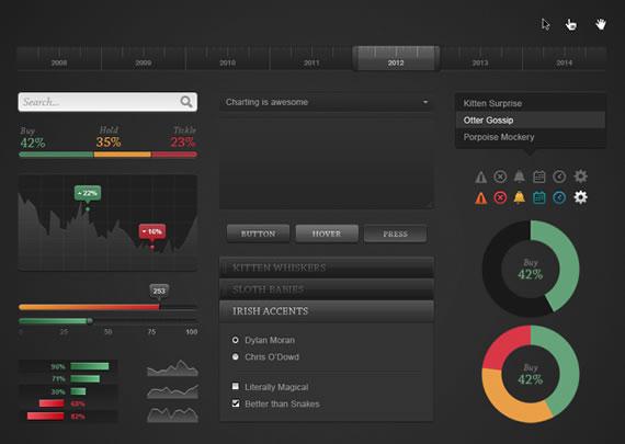 UI oscura gratis para sitios con graficos