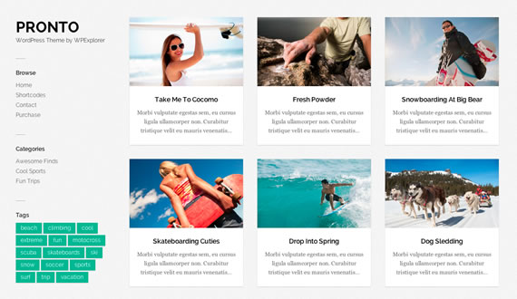 Pronto, template de Wordpress con galería