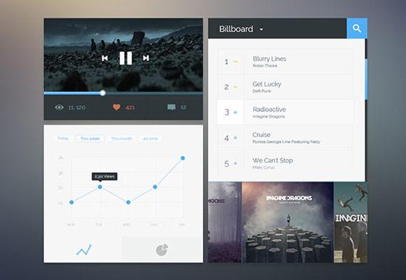 Elementos UI para reproductor de audio estilo plano