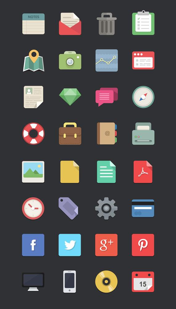 Iconos planos vectorizados