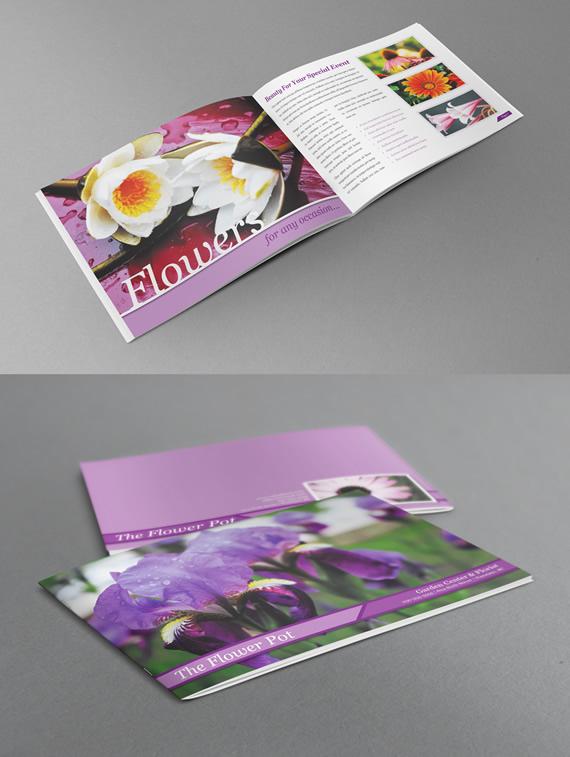 Catálogo estilo libro con tipos de flores