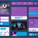 Minimal UI Kit en violeta y azul