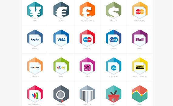 Iconos de shopping en diseños planos