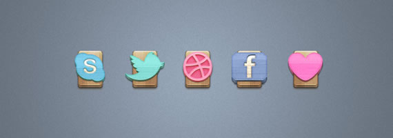 Wood Social Icons