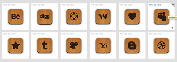 Wooden textured social icons