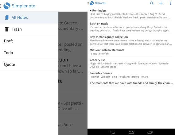 Simplenote llega finalmente a Android