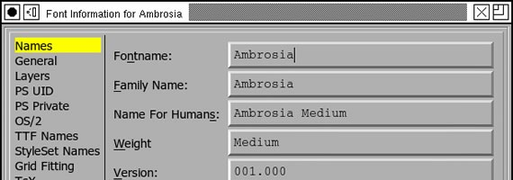fontforce menu