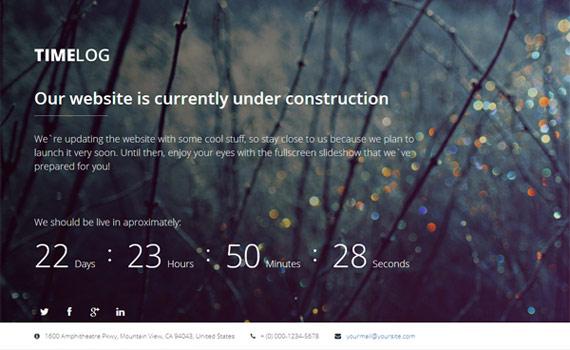 Plantilla HTML de página en construcción: TimeLog
