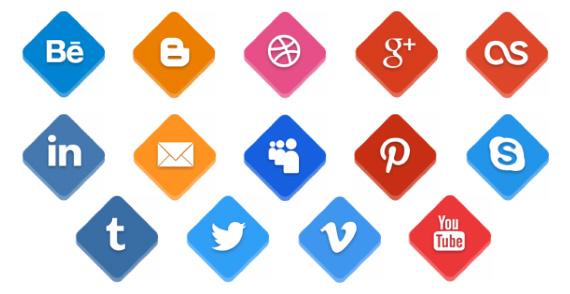 Iconos sociales con y sin sombras en PSD