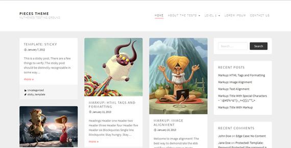 Theme minimalista para WordPress: Pieces