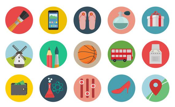 Iconos circulares planos en varios formatos