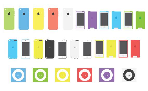 Dispositivos de Apple estilo flat en PSD y EPS