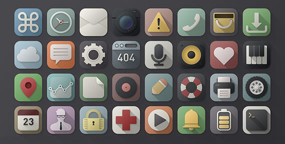 40 Long Shadows PSD Icons