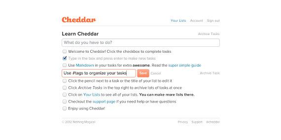 Listados de tareas en Chrome con Cheddar