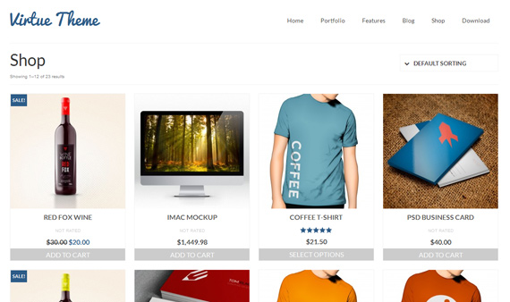 Virtue: theme con tienda para WordPress