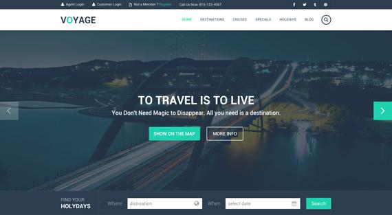 Theme para viajes en PSD: Voyage