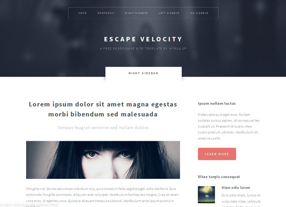 Escape Velocity: Theme HTML5 corporativo