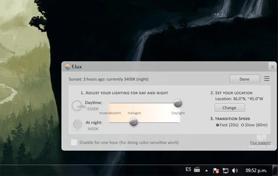 F.lux: Brillo automático en el monitor