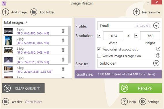Redimensionar imágenes en Windows con Image Resizer