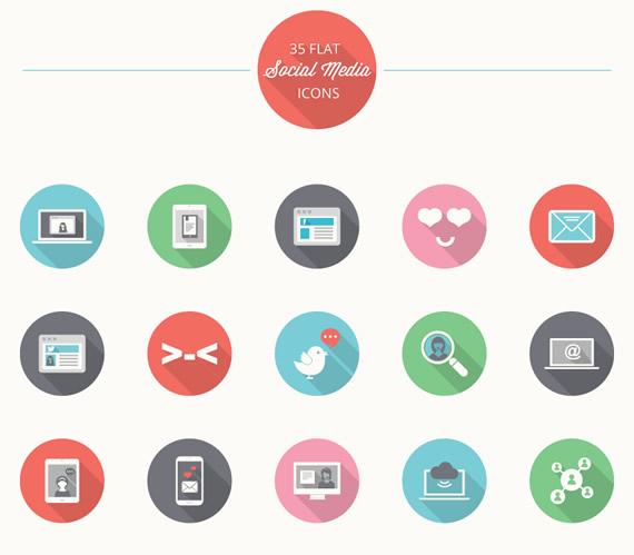 25 Flat Social Media Icons