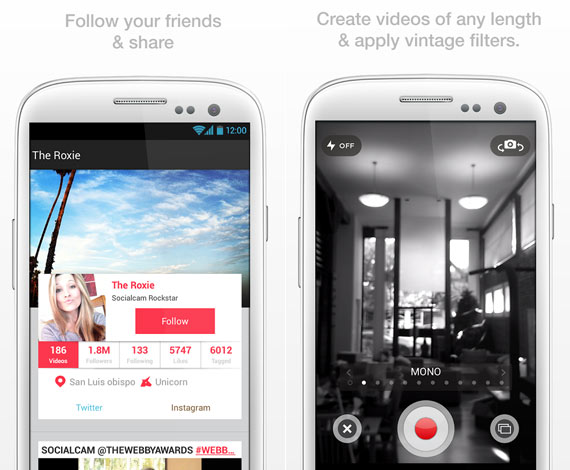 Socialcam: capturar y compartir videos en Android