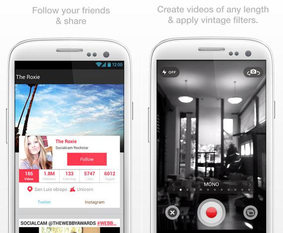 Socialcam: capturar y compartir videos en Android
